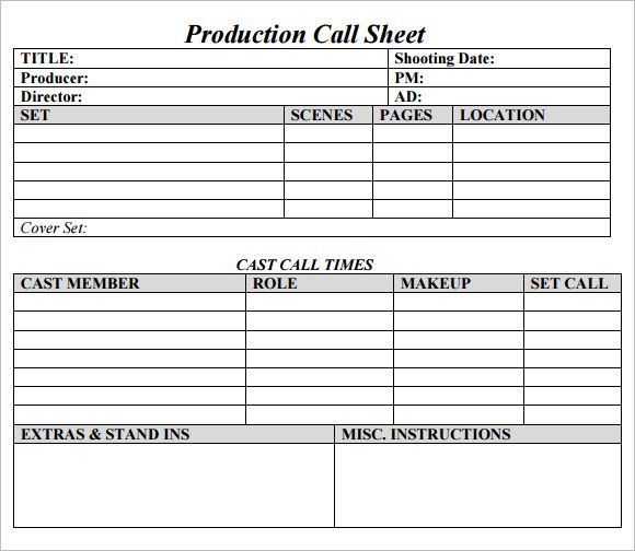 Call Sheet Template Check more at https://nationalgriefawarenessday ...