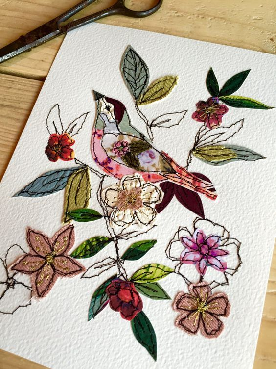 Summer Blooms stitched mixed media original by AmandaWoodDesigns: