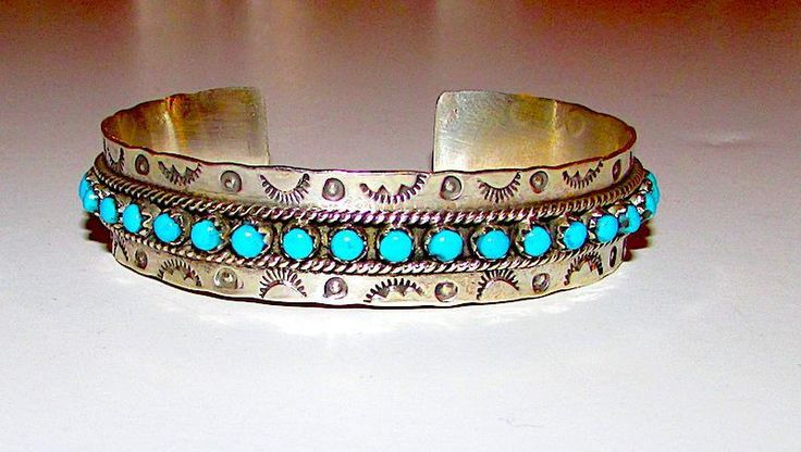 """Native American Zuni Sterling Silver Sleeping Beauty Mine Turquoise Cuff Bracelet """"Snake Eyes"""" Tribal Hand Etched Design Signed"""