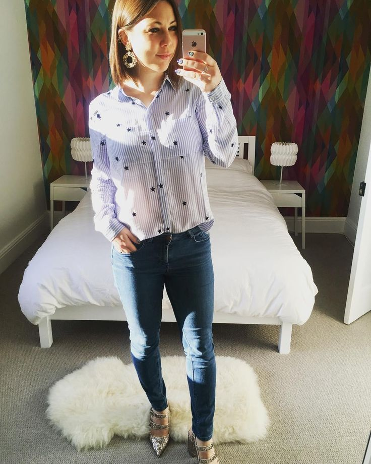 Our Ticking Stripe Star Shirt, featured by @lauraguttfeild on Instagram. Click the selfie to shop the look #oasisfashion