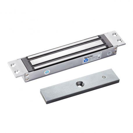 Electromagnet de forta incastrat SM-280MA. Electromagnetul incastrabil SM-280MA  este potrivit pentru usi de lemn, usi de sticla, usi metalice si usi anti-foc.  Carcasa este din aluminiu, iar contraplaca din otel inoxidabil.  Tensiune de alimentare: 12Vcc Amperaj: 380mA/12V  Dimensiuni electromagnet: 228x38x28mm Forta de retinere: 280kg Alte caracteristici: fail-safe, protectie de supratensiune incorporata, design anti-magnetism rezidual