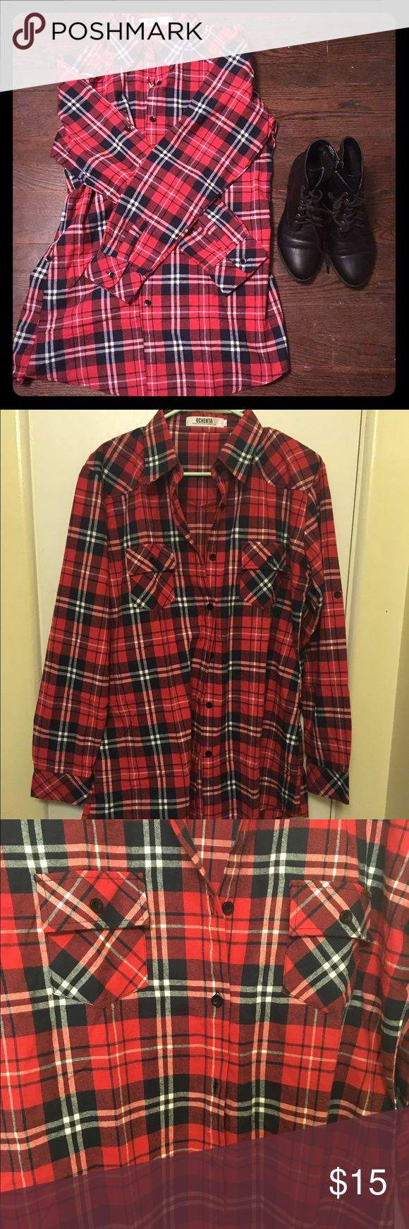 "Oversized Plaid Shirt NWOT. Such a cozy plaid shirt for a cool vintage grunge look!!! Perfect with leggings and black boots!!! 22"" from armpit to armpit and 31"" long. Great for cold weather or as a pajama shirt! (Labeled Forever 21 for exposure). Forever 21 Tops Button Down Shirts"