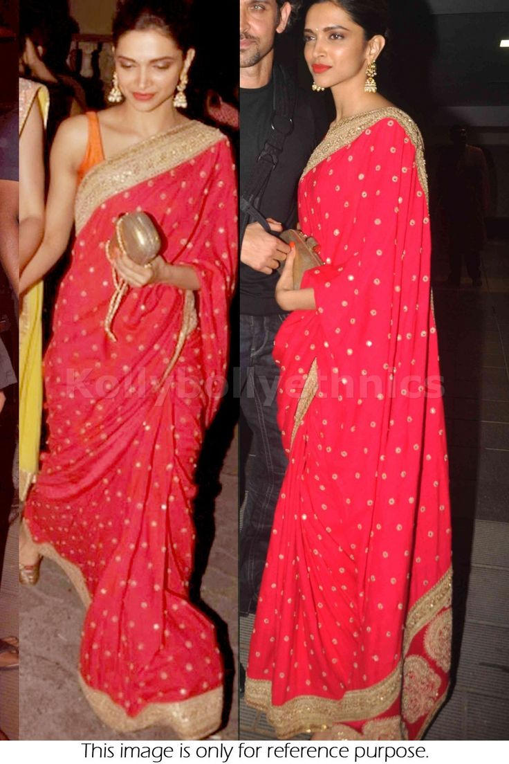 Bollywood Actress Deepika Padukone Georgette Saree in Red color