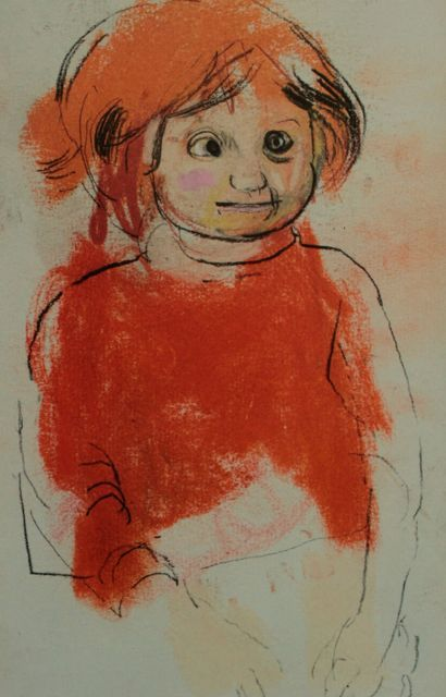 """Joan Eardley, """"Girl in Orange Jumper,"""" c.1961-62, Charcoal and pastel on paper, 8 7/8 x 5 5/8 in, Private Collection"""