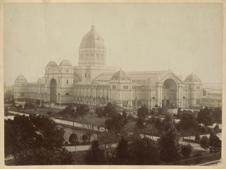 Exhibition buildings, Melbourne, with roller coaster. SLV.