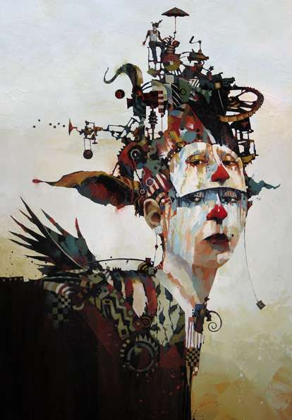 Kinetic Machine Cranium Portraits  Bruce Holwerda Paints Mime-Like Subjects with…