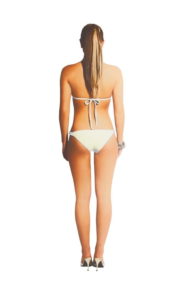 Gorgeous  Triangle Bikini . At the front: Mother Pearl  stones add, ties at neck and back.