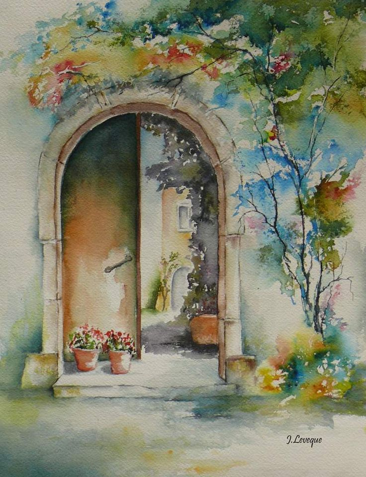 Mes aquarelles over blog com aquarelle de josiane leveque watercolor art - Peinture porte et fenetre ...