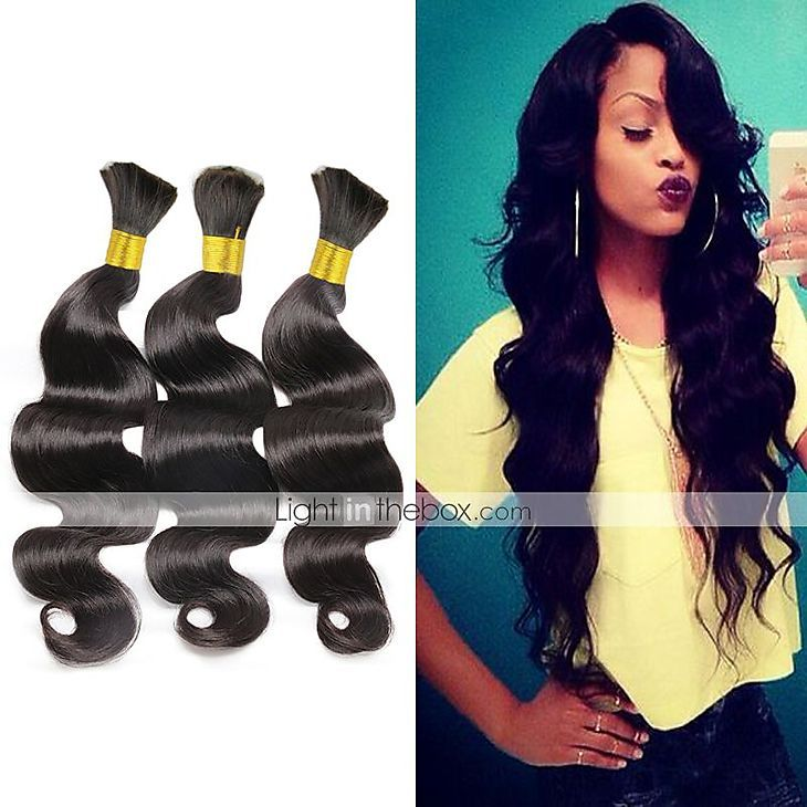 "3pcs/lot Body Wave 10""-28""Hair Bulk Unprocessed Brazilian Virgin Hair Body Wave Human Braiding Hair Bulk 5056871…"