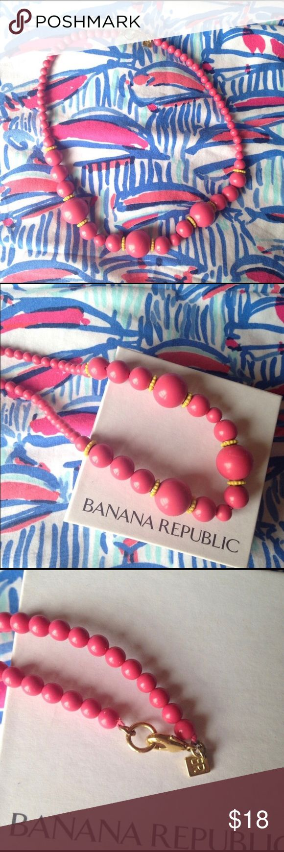 Banana Republic Pink Beaded Statement Necklace Fun pink beaded statement necklace from Banana Republic! Pink beads with yellow accents. Gold hardware. 18.5 inches long. Comes in original box! Great pop of color or preppy statement piece! Looks great with Lilly Pullitzer patterns. Banana Republic Jewelry Necklaces