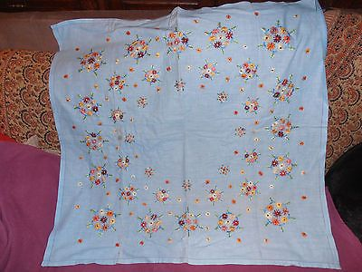 "Vintage hand #embroidered blue #small tablecloth, #32""square, multicoloured flowe,  View more on the LINK: 	http://www.zeppy.io/product/gb/2/262731586177/"
