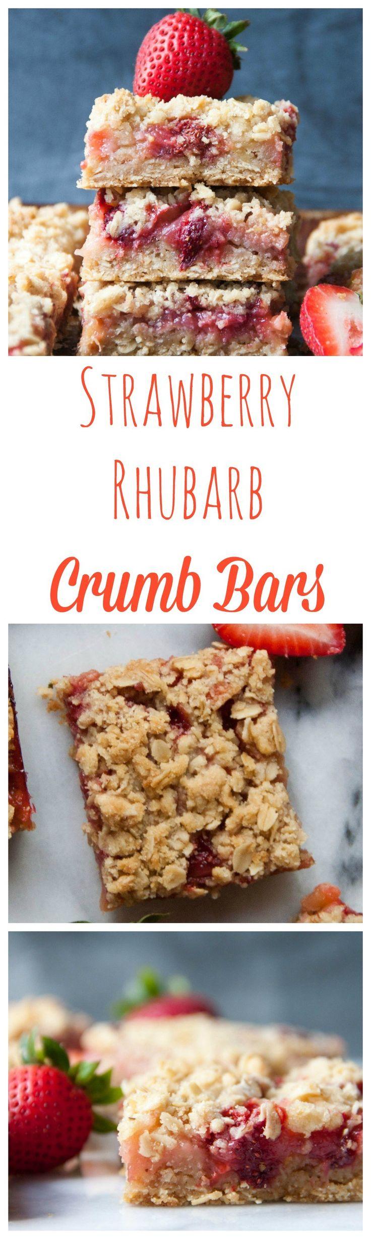 Strawberry Rhubarb Crumb Bars | strawberry rhubarb bars | strawberry bars | strawberry recipes | rhubarb recipes | crumb bars