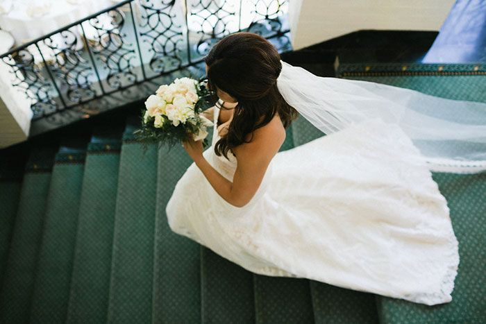"A classic look at Erika in Matthew Christopher's ""Sofia"" wedding gown.  Photo: Elizabeth Ann Studios   Salon: @Nordstromwed"