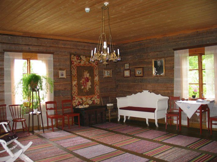 Traditional Finnish living room interior in an old house in Finland