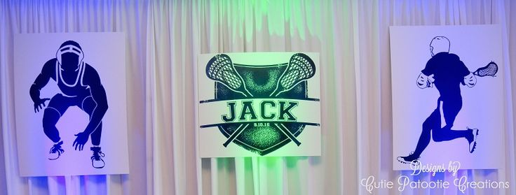 Jack's Lacrosse Wrestling Glow Themed Bar Mitzvah Party Decorations, Lacrosse Theme Bar Mitzvah, Wrestling Theme Bar Mitzvah, Lacrosse Bar Mitzvah Logo, Wrestling Bar Mitzvah Logo, Invitations, Party Decorations, Sign in Board, Favors. Custom designed by Cutie Patootie Creations
