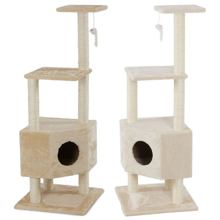 51 Almond / Beige Cat Tree Condo Furniture Scratch Post Play House Toy Game