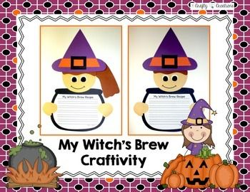 My Witch's Brew Craftivity Writing prompts are great....but they are definitely more fun for your students when a craft is added to the activity. This set is perfect for Halloween and includes:- A Witch Craftivity with a picture, patterns, and directions- Writing Prompt: If I were a witch...(1 line, 3 dotted)- Writing Prompt: My Witch's Brew Recipe(1 line, 3 dotted)- Witch's Brew Bubble Diagram- Witch Bubble Diagram- P is for Pumpkins Letter Hunt Page- H is for Halloween Letter Hunt ...