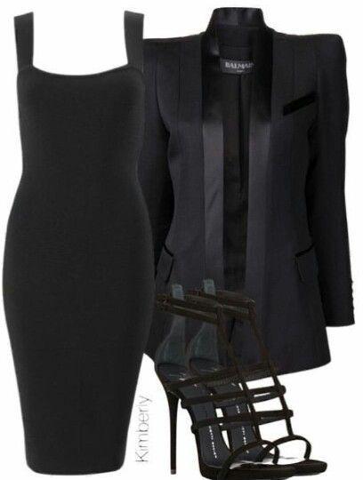 Klassisches schwarzes knielanges Kleid mit schwarzem Blazer und Satinbesatz
