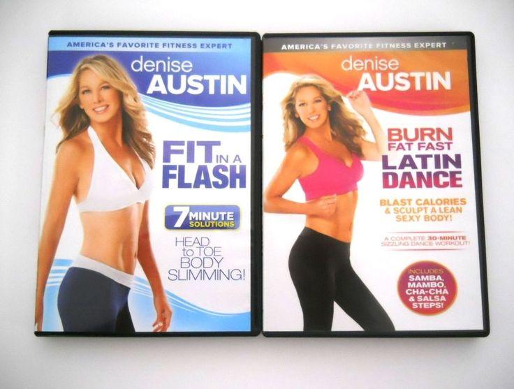 Denise Austin Lot: Fit in a Flash + Burn Fat Fast Latin Dance Workout DVDs