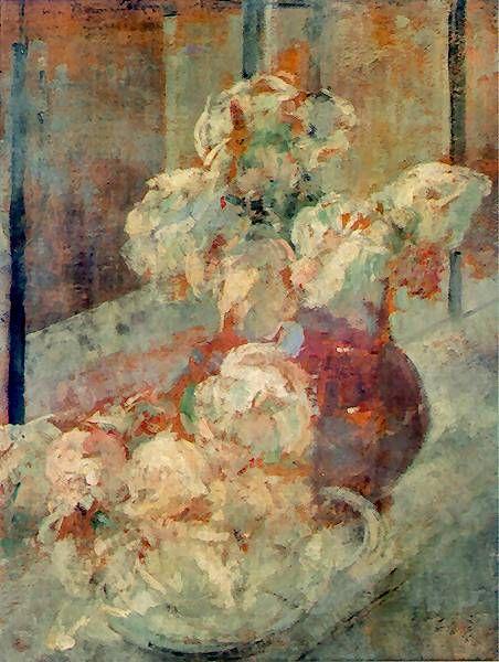 Olga Boznańska, Kwiaty   1913. Olej na tekturze. Muzeum Narodowe w Krakowie.
