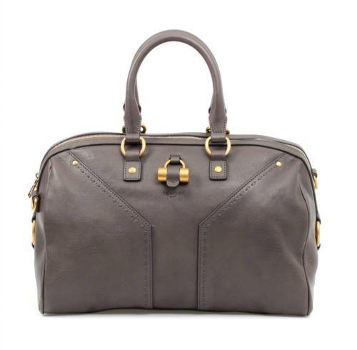 YSL Yves Saint Laurent Grey \u0026amp; Gold Tone Hardware Leather Muse ...