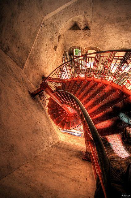 ღღ Downward Spiral - Looking down from the top of the Belltower in Zadar, Croatia ~ whoa...feeling dizzy! Lovely...