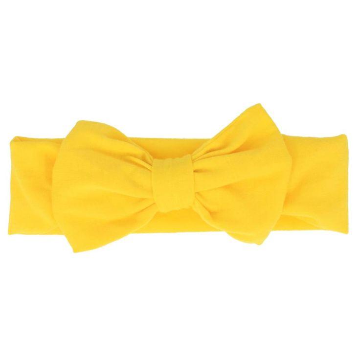 Geel haarbandje met strik 0-4 jr - Haarspeldjes.com