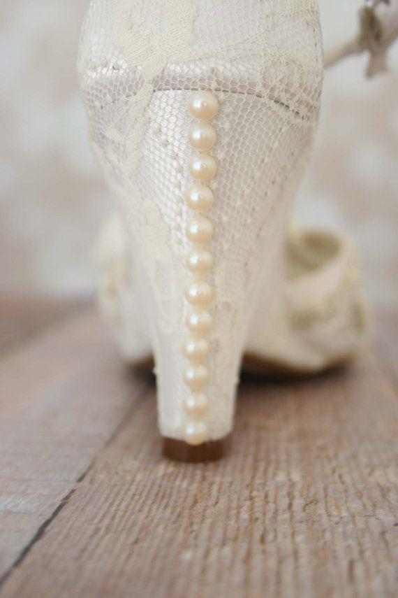 Ivory Lace Wedding Shoes Wedge