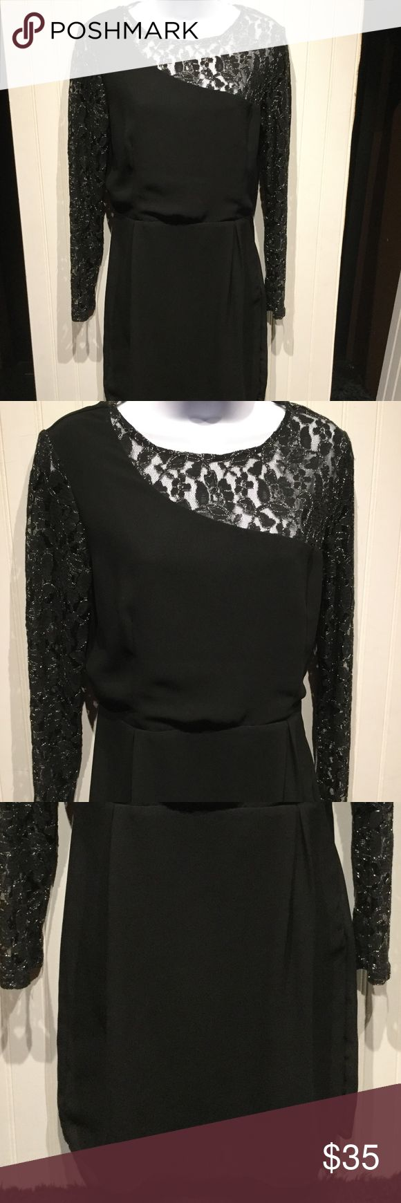 """Sugar Hill Boutique Stunning Sugar Hill Boutique dress in size medium.  Very elegant with it's laced long sleeves.  100% polyester.  Delicate fabric handle with care and hand wash cold.  This dress is perfect for those holiday gatherings!  Falls just above the knees, I am 5'8"""". 10% of two or more items from my closet! Sugar Hill Boutique Dresses"""