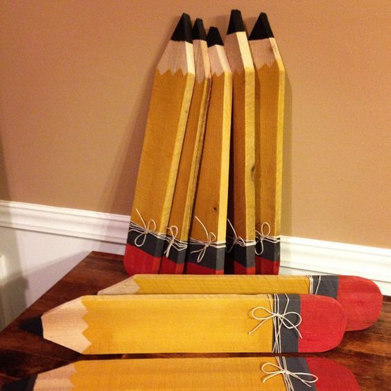 PERSONALIZED with name painted on this TEACHER / STUDENT pencil sign on…