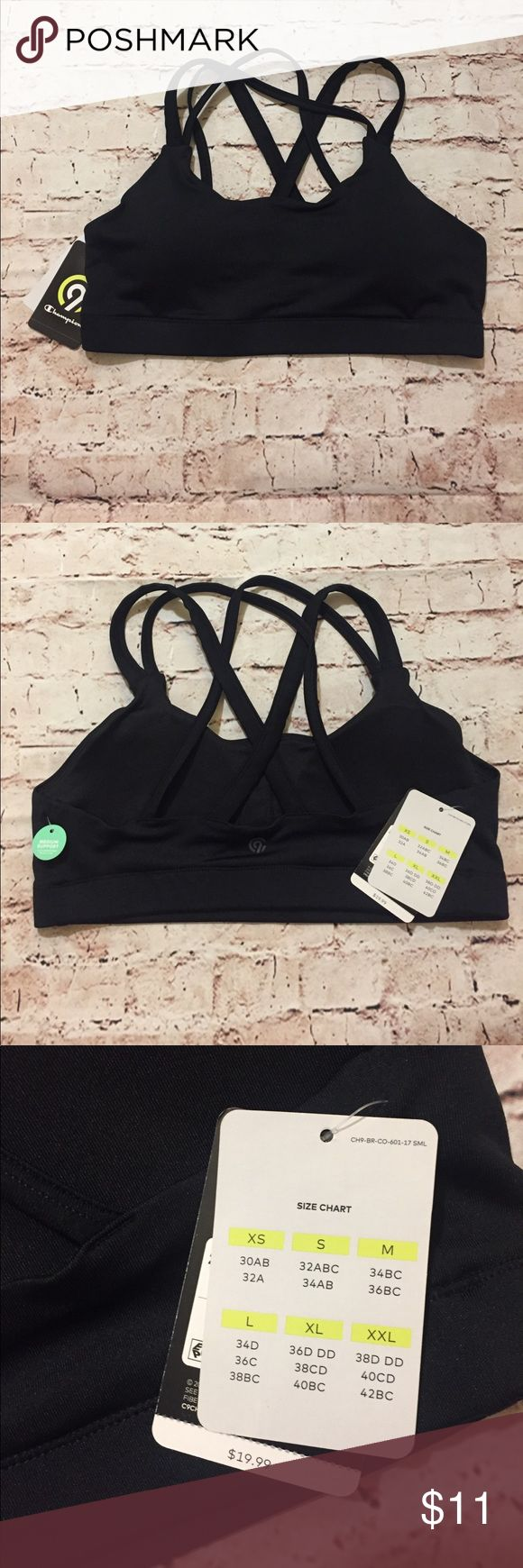BRAND NEW Champion Sports Bra with tags Solid black sports bra that provides medium support.  Duo Dry, wicks moisture +dries fast and removable cups. Champion Intimates & Sleepwear Bras
