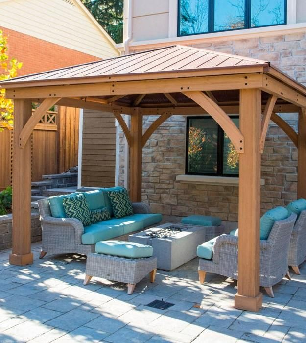 Expand your outdoor living space using the Wood Gazebo with Aluminum Roof by Yardistry. The Wood Gazebo with Aluminum Roof adds character to any area, creating the perfect setting for all of your outdoor entertainment needs.