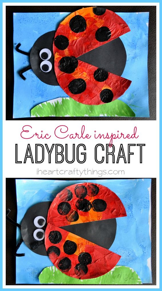 Beautiful Lady Bug Craft for kids inspired by Eric Carle's book The Grouchy Ladybug. Fun preschool kids craft from iheartcraftythings.com.