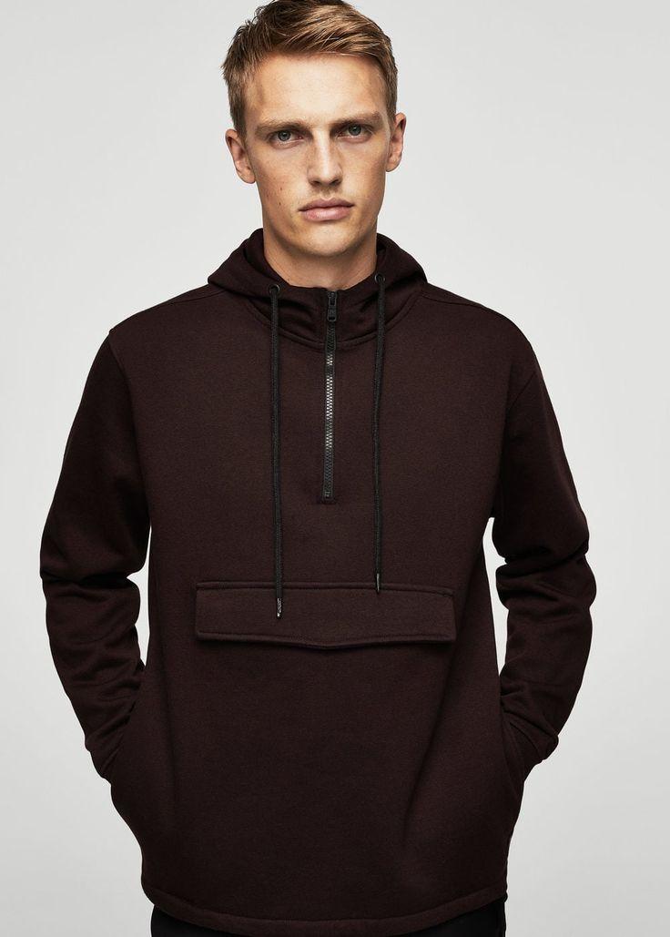 Katoenen sweatshirt met zak -  Dames   MANGO België