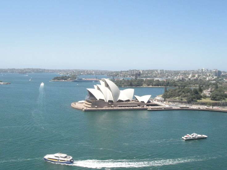The Sydney Opera House from the Pylon Lookout on the Sydney Harbour Bridge.
