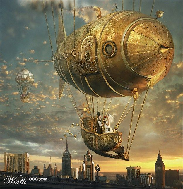 Love amid the airships - sorry, could not find the artist or this image on the site.