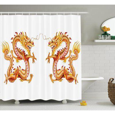 "Ebern Designs Yolanda Dragon Twin Fire Dragon Zodiac Statues Traditional Asian Art Chinese Themed Picture Print Shower Curtain Size: 69"" W x 70"" H"