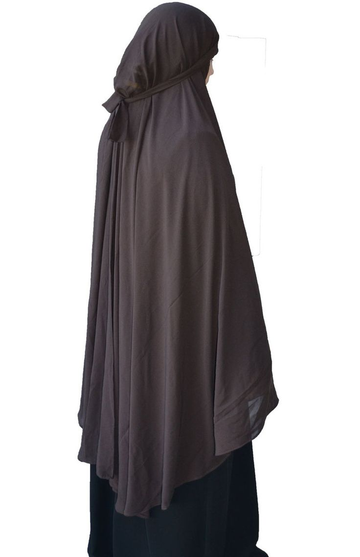 Hayaa Clothing - Tie-Back Georgette BROWN Khimar Full Length 57 inches, $19.00 (http://www.hayaaclothing.com/tie-back-georgette-brown-khimar-full-length-57-inches/)