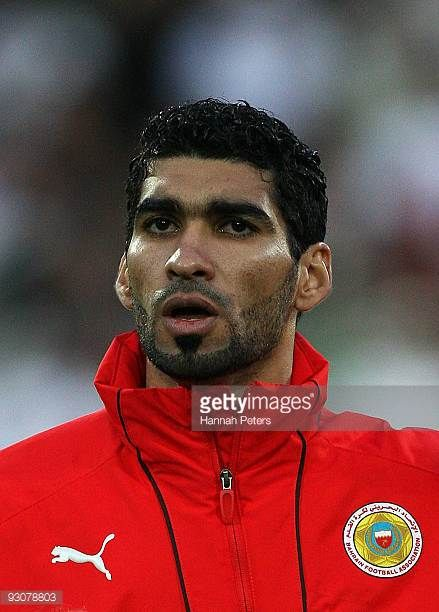 Mohamed Ahmed Salmeen of Bahrain sings the national anthem before the FIFA World Cup Asian Qualifying match between New Zealand and Bahrain at...