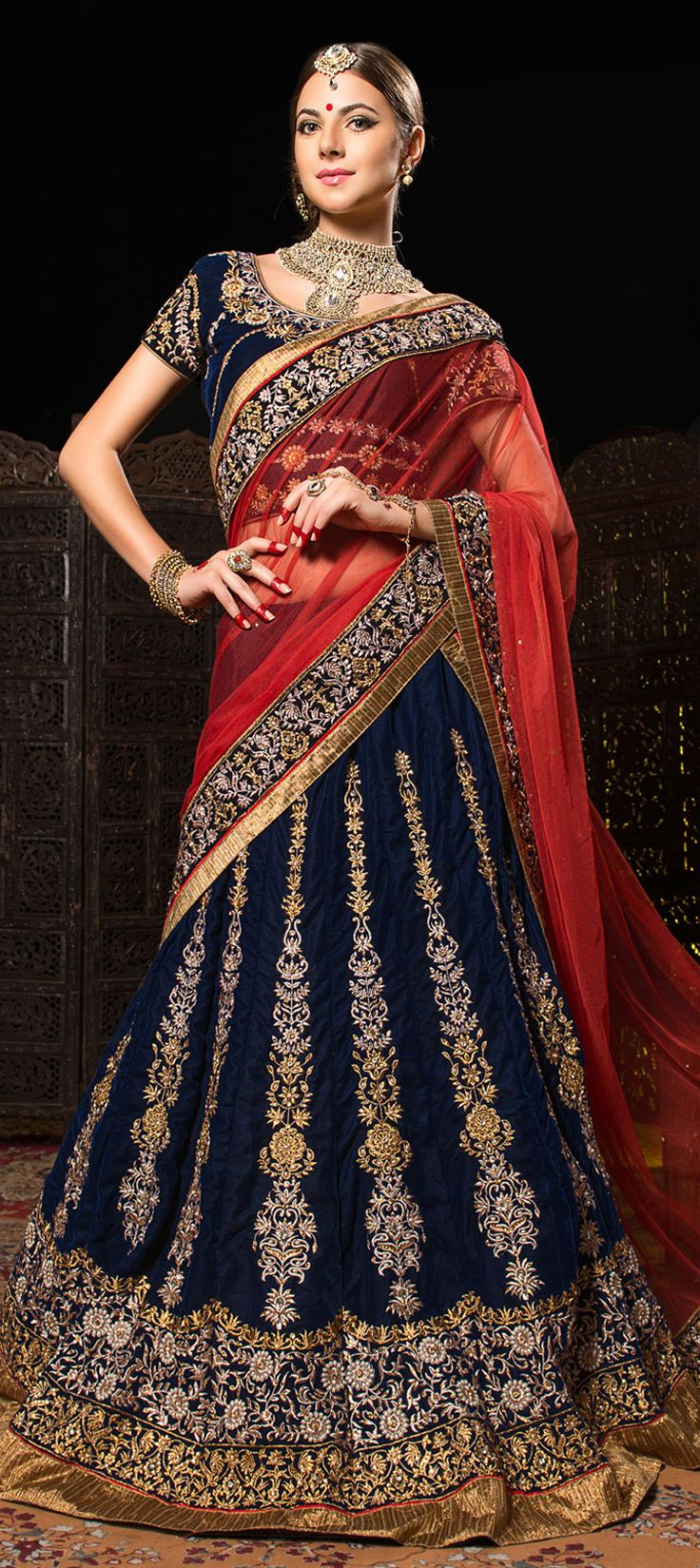 153202: WEDDING LEHENGA - check out this new style of embroidered #lehenga for wedding parties.   #Bridalwear #IndianFashion