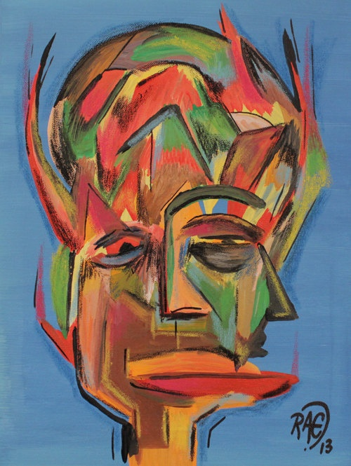 Abstract face painting original acrylic art vibrant for Nice acrylic paintings