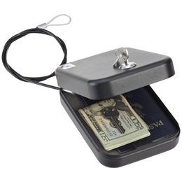 Personal Safe with Lock    Take peace of mind wherever you go with our portable Personal Safe with Lock. Choose to use the security cable to tether it to any stationary object or mount it in a permanent location. It's sized for items such as a wallet, jewelry, mobile phone, passport and cash, making it a great travel companion