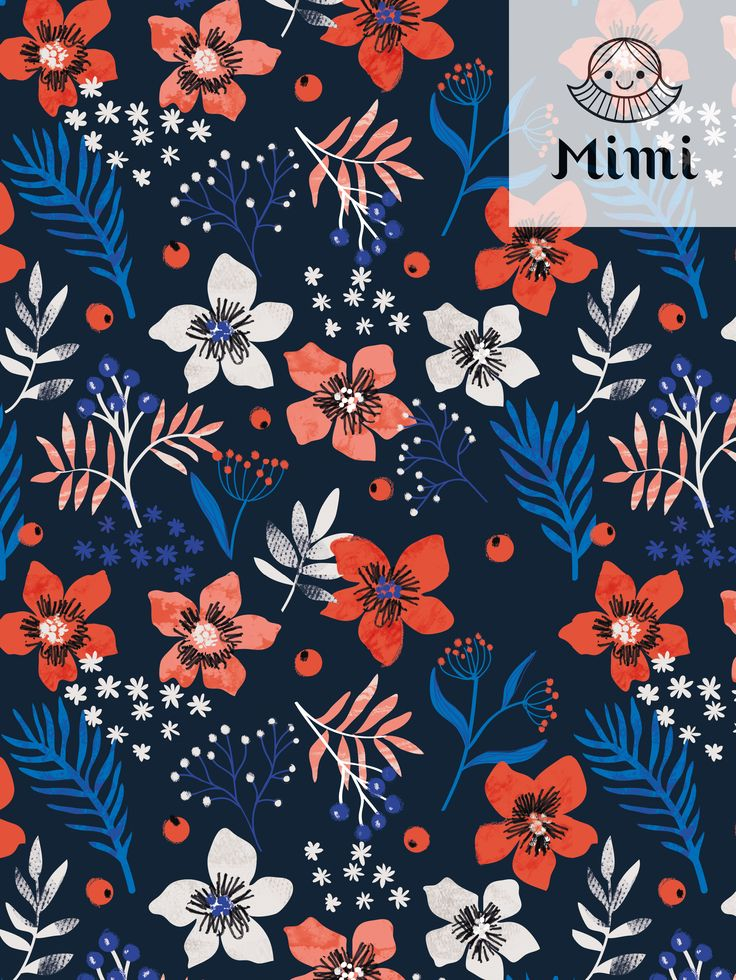 Floral Christmas pattern by Mimi Paper 2017