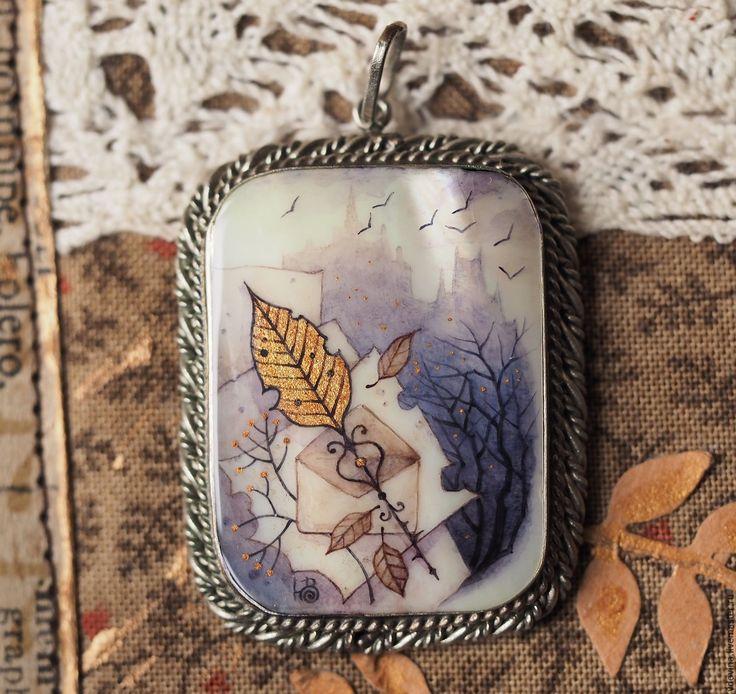 Купить кулон Ключ от Осени - серый, дымчато-серый, серо-синий, серо-коричневый