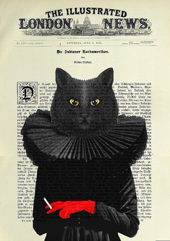The Thespian cat is always in the press...  BLACK CAT original ARTWORK mixed media by artretro on Etsy, $17.00