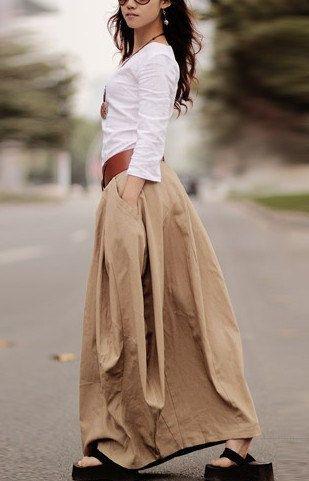 khaki linen skirt woman skirt