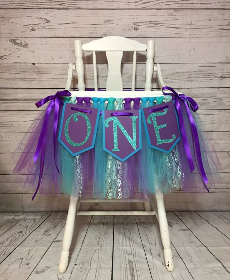 Little Mermaid High Chair Tutu- High Chair Skirt-Highchair tutu- Highchair skirt Blue and Purple High chair Banner- Will Custom Make by AvaryMaeInspirations on Etsy