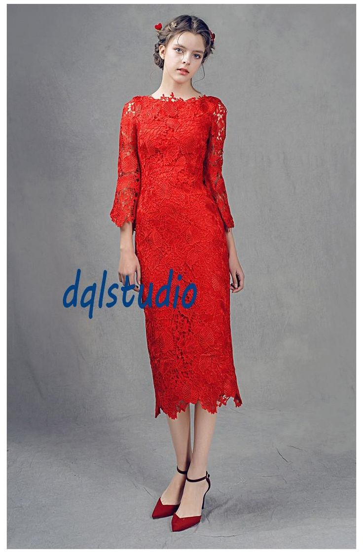 Fancy Floral Lace Cocktail Dresses Three Quarter Sleeve Tea-Length Party Gowns Scoop Zipper Back Lace Dress Lace Cocktail Dresss Party Dress 2017 Online with $99.0/Piece on Dqlstudio's Store   DHgate.com