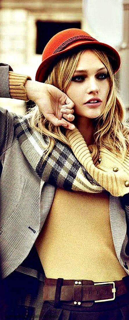 ~Sasha Pivovarova in a tartan scarf | The House of Beccaria#