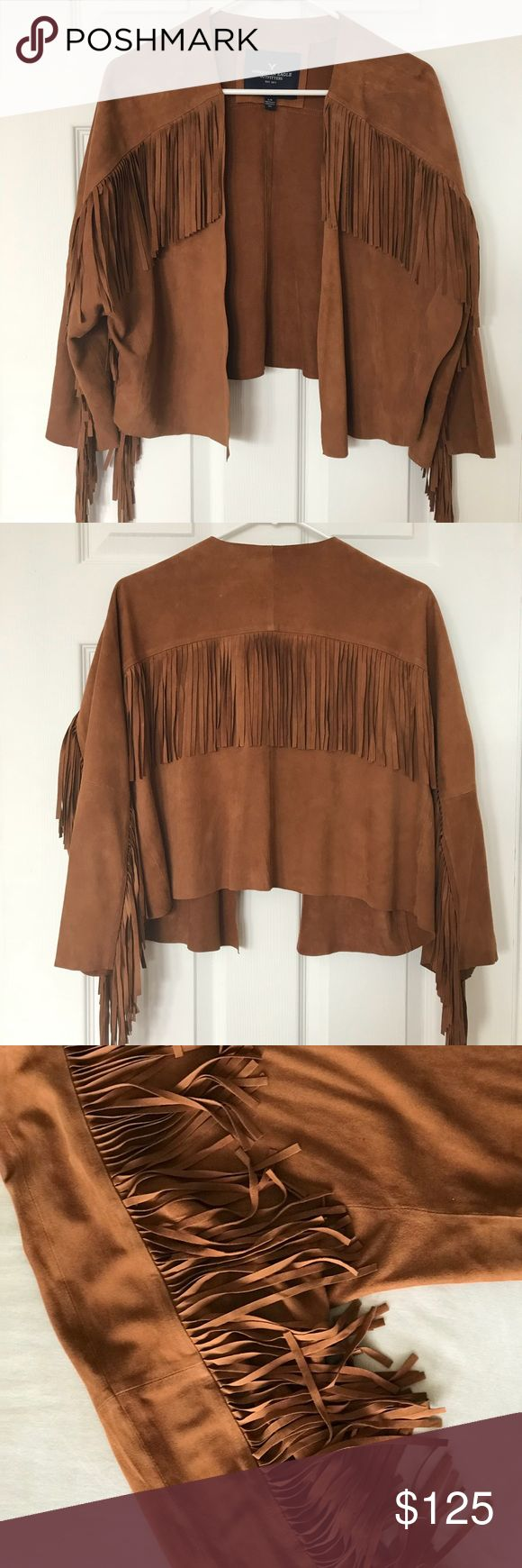 American eagle genuine suede fringe jacket Suede brown fringe jacket, Worn once in perfect condition. Made of 100% goatskin leather. American Eagle Outfitters Jackets & Coats